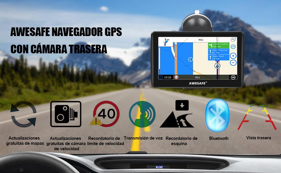 AWESAFE Navegador GPS para Coches con cámara Trasera de 7 Pulgadas con Bluetooth, con Mapas Últimos y Actualizaciones de por Vida: Amazon.es: Electrónica