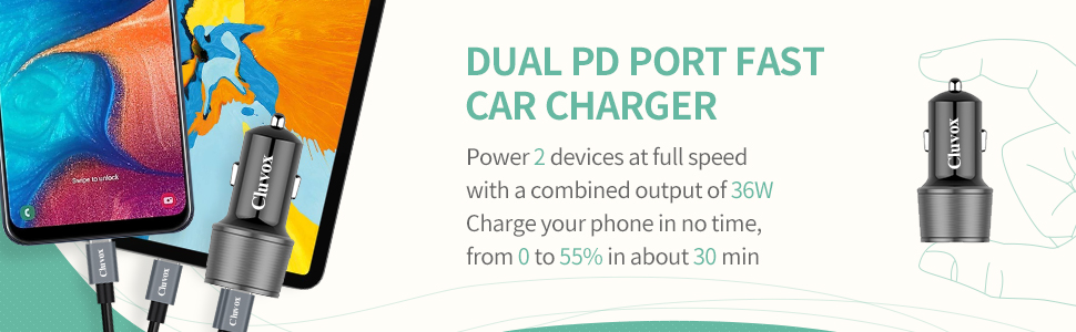 Iphone x fast car charger dual usb