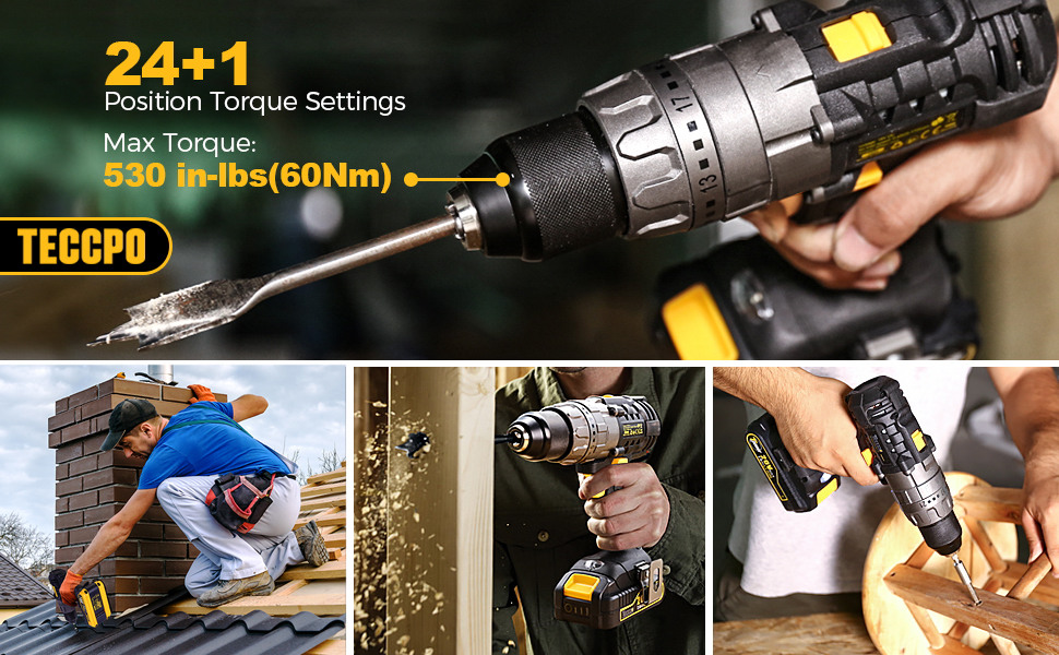 24+1 Torque Setting, Max Torque 530 in-lbs, Torque adjustable drill