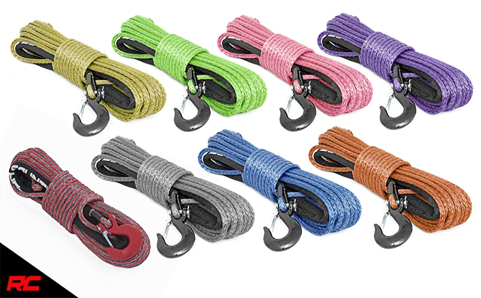 Rough Country Purple 1//4in 50 FT Synthetic UTV//ATV Winch Rope RS162