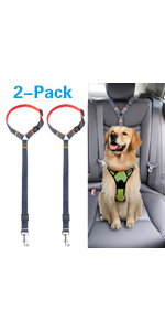 Dog car safety seatbelt is designed with stylish denim and nylon fabric, 2-Pack available.