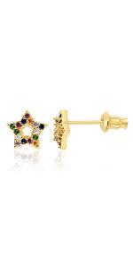 gold earrings for women hoop hoops rainbow colorful girls gift christmas holiday womens huggies