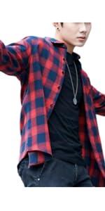 チェックシャツ メンズ 長袖 ボタンダウン オシャレ カジュアル 春 秋 ネルシャツ ロング シャツ 綿 トップス ベーシック 長袖シャツ 冬 おおきいサイズ 大きいサイズ 夏 男の子 衿付き 紺 黒