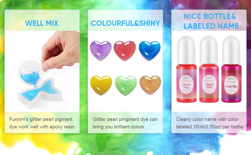 siwetg 9 Teile//Satz Perlglimmer Pigment Perlmutt Pulver UV Harz Kristall Epoxy Handwerk DIY Schmuck Machen Schleim Toning Farbe Highlight Glitter