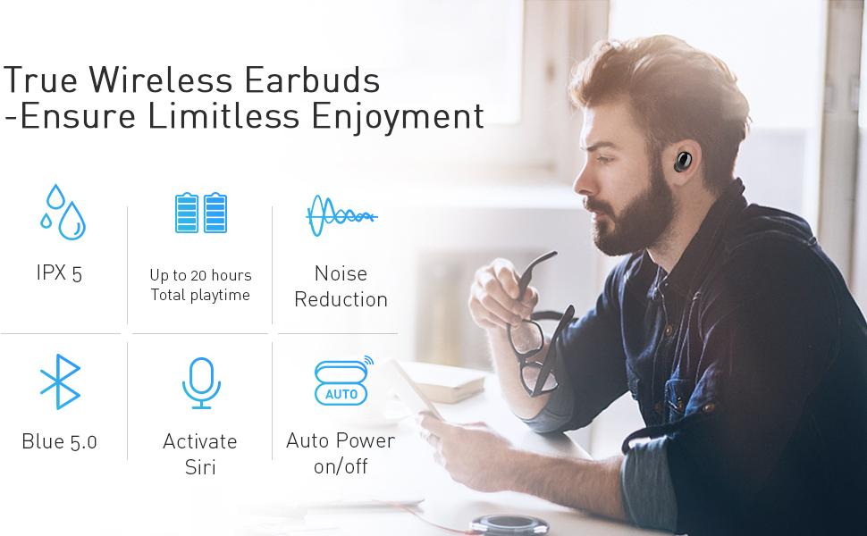 true wireless earbuds bluetooth 5.0