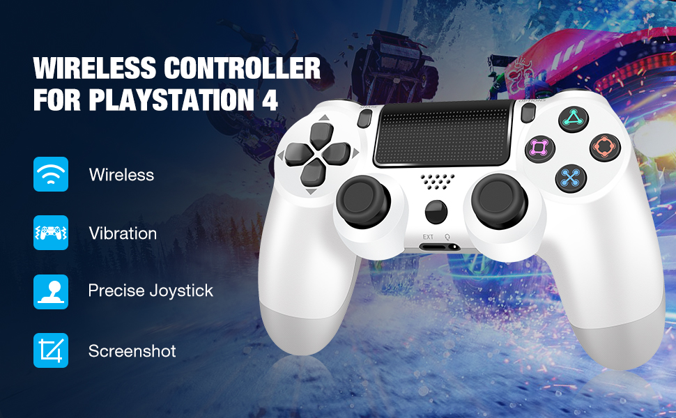Wireless Controller Gamepad Joystick Remote Vibration Headset Jack Compatible PS4 Pro Slim White