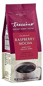 Teeccino Raspberry Mocha Herbal Coffee is a prebiotic, acid-free, caffeine-free coffee alternative