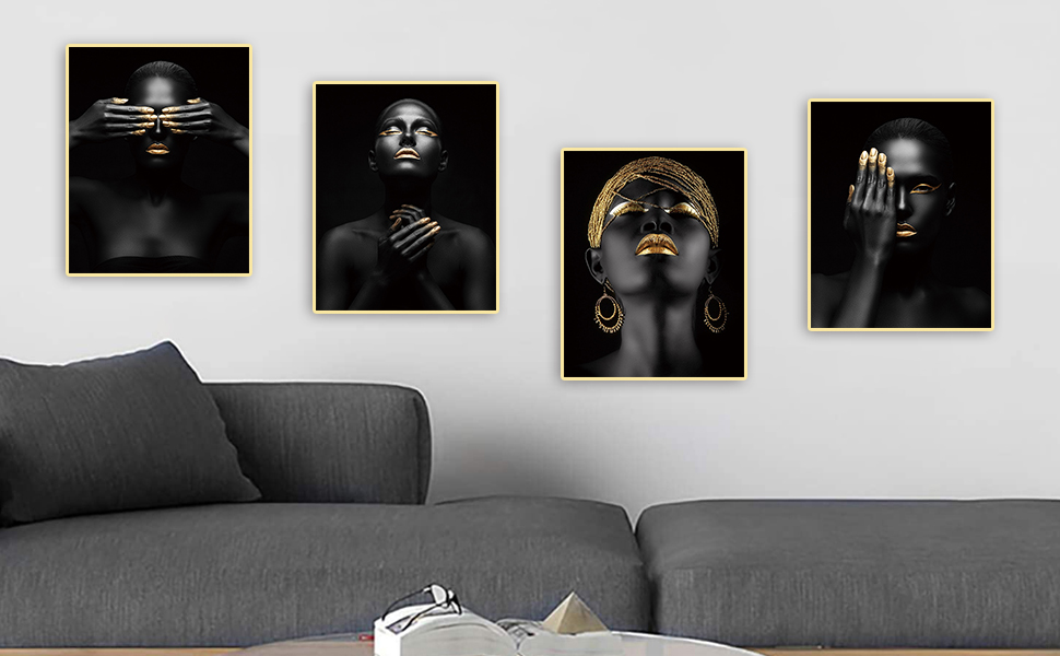 Welcome to African American Art Painting Black Women Fashion Gold Earring Necklace 4 Piece Set