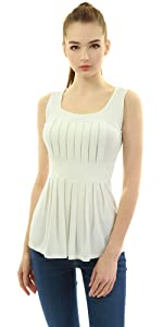 AmélieBoutik Women Scoop Neck Pleated Fit and Flare Sleeveless Blouse