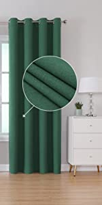Green Blackout Linen Look Curtains