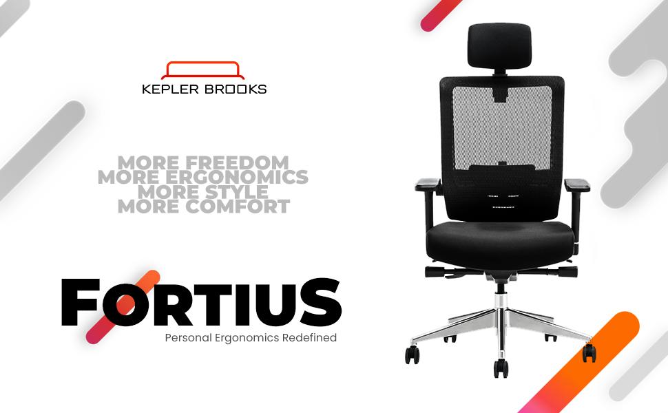 Fortius, Ergonomic,Kepler Brooks, Office Chair, Furniture, High Back Office Chair, Lumbar Support
