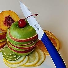 Apple Slices, blue ceramic knife