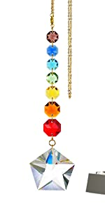 Colorful Rainbow Five-Pointed Star Crystal Suncatchers