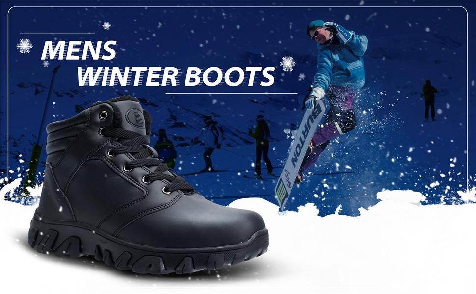 BINSHUN Mens Winter Boots Wterproof Snow Boots Lightweight Slip on High Boot Black