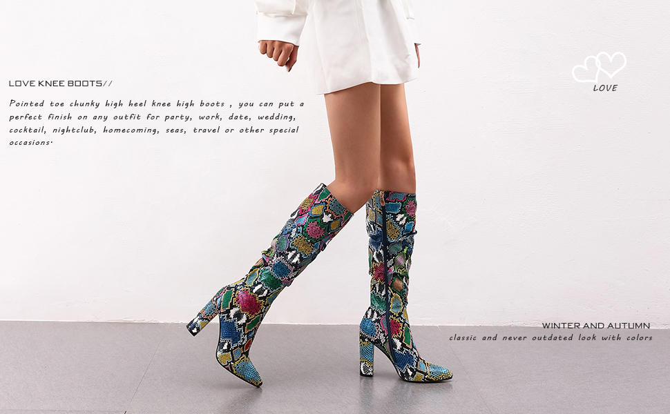 wetkiss Colorful Snakeskin Boots Mid-Calf Boots Thick High Heels Pointed Toe Zipper Slouch Boots
