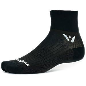 Swiftwick Performance Two, black quarter crew socks, cycling socks, socks for running, workout socks