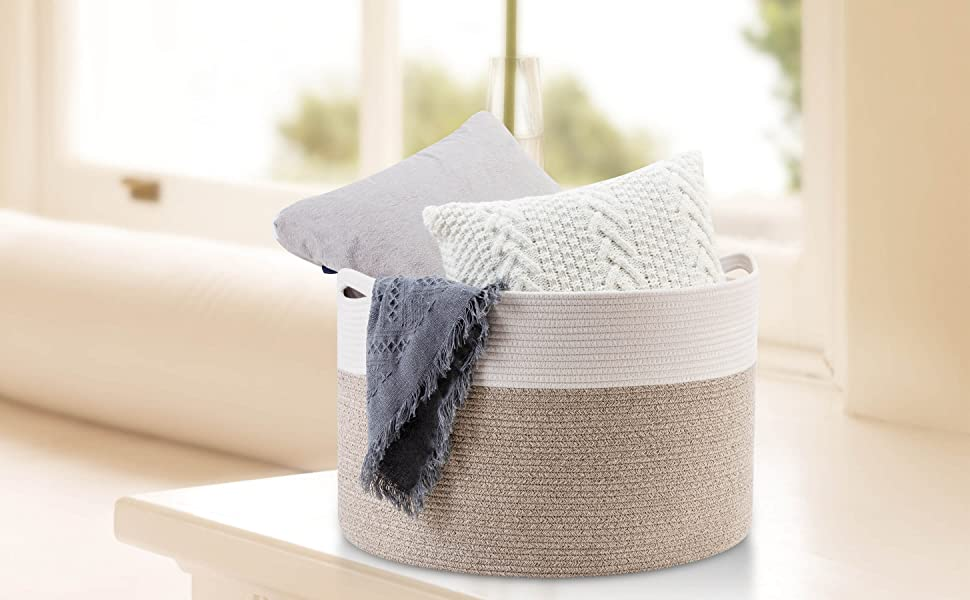 Mintwood Design Cotton Rope Blanket, Laundry, and Toy Basket - light brown