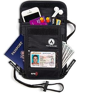 running buddy rfid, travel pouch for passport and tickets, two passport holder rfid blocking