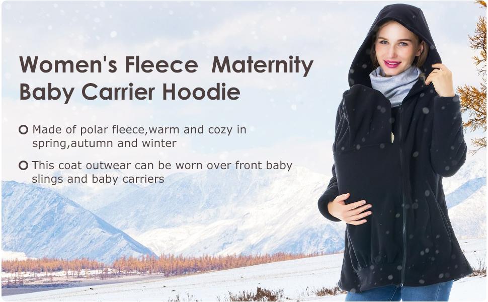 Women's Fleece Zip Up Maternity Baby Carrier Hoodie