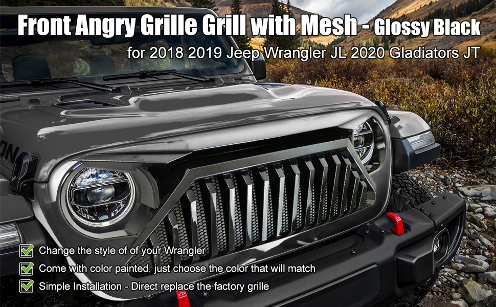 gloss black angry grill for wrangler jl