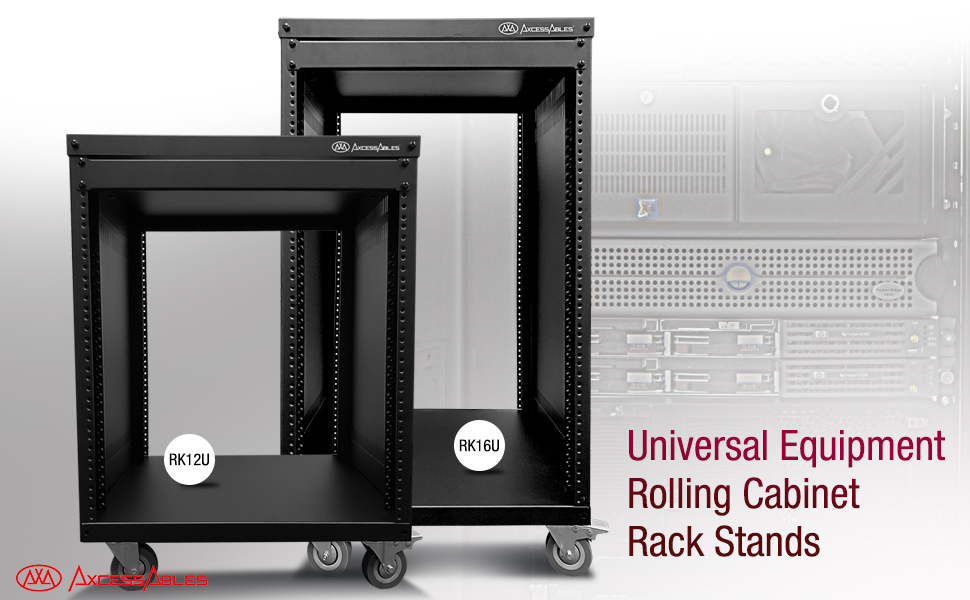 AxcessAbles RK 12U Universal Equipment Rolling Cabinet Rack Stand Open Bay w/ Locking Caster Wheels