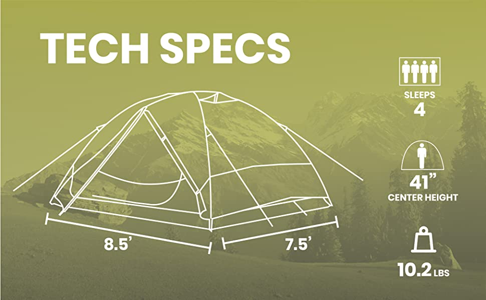 large interior floor space compact pack weight lightweight tall ceiling tent ventilated rainfly