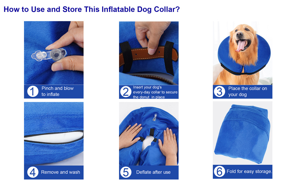 Protective Inflatable Collar for Dogs and Cats - Soft Pet Recovery Collar Does Not Block