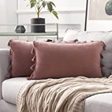 pink tassel pillow covers shams