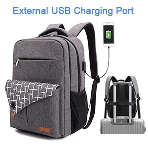 External USB Port Laptop Backpack