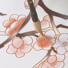 KIM+ONO Women's Handpainted Silk Kimono - Cherry Blossom - Handcrafted Design