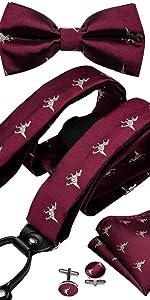 burgundy novelty suspender and bow tie set