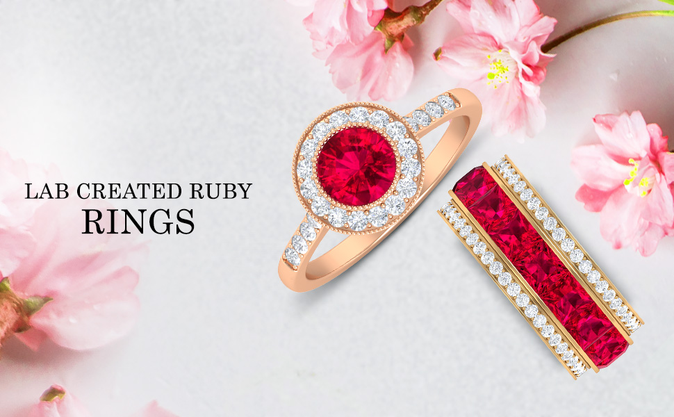 banner Lab Created Ruby Rings