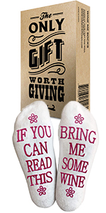 Comfort Cotton Socks + Gift Box If you can read this bring me a glass of wine&quot Perfect Gift