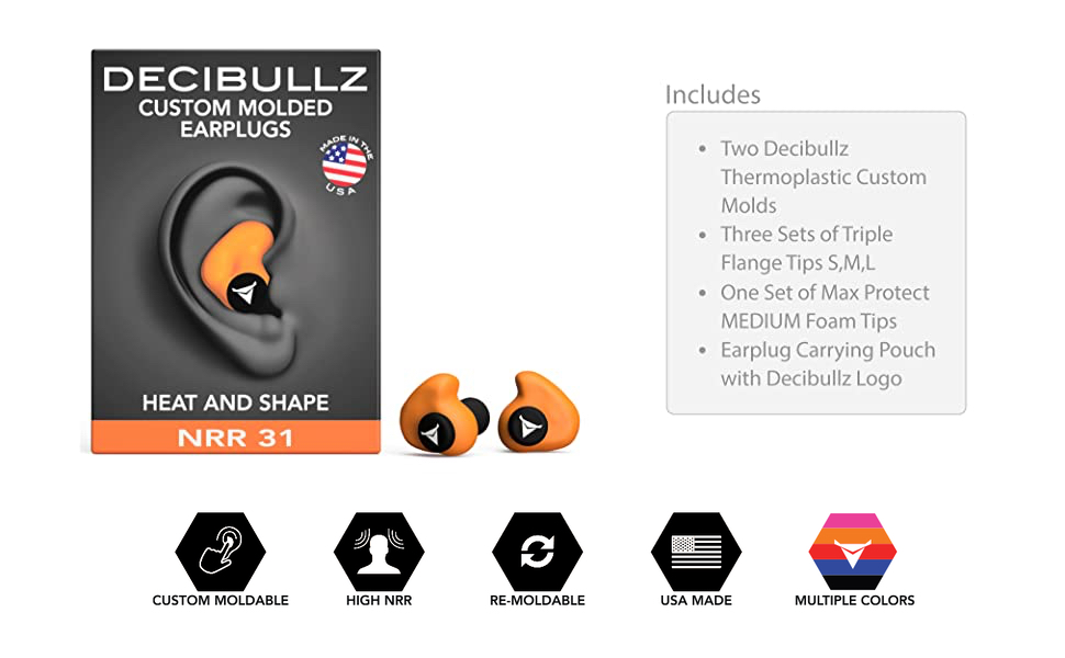Custom Fit Moldable Earplugs for Gun Shooting Travel /& Concerts