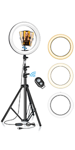 blitzwolf selfie ring light with tripod stand for live streaming