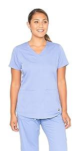 model wearing Grey's Anatomy Easy Care Top