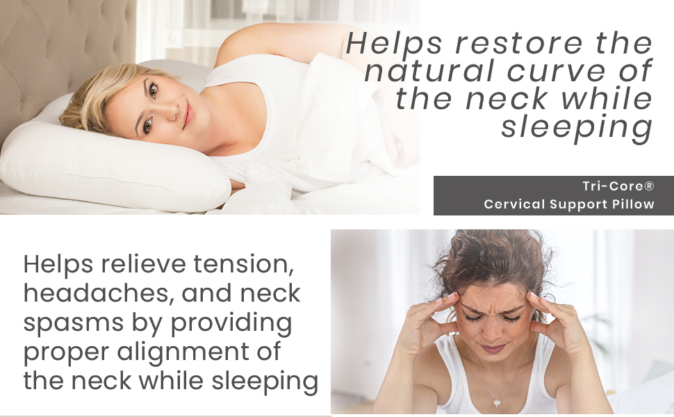 Tri-Core restore neck curve help relieve tension headaches and neck pain, orthopedic pillow
