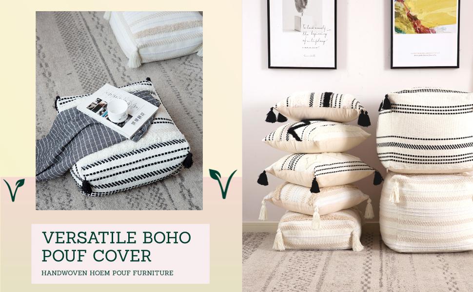 square floor cushion pouf cotton woven tassels tufted white beige farmhouse nursery seat moroccan