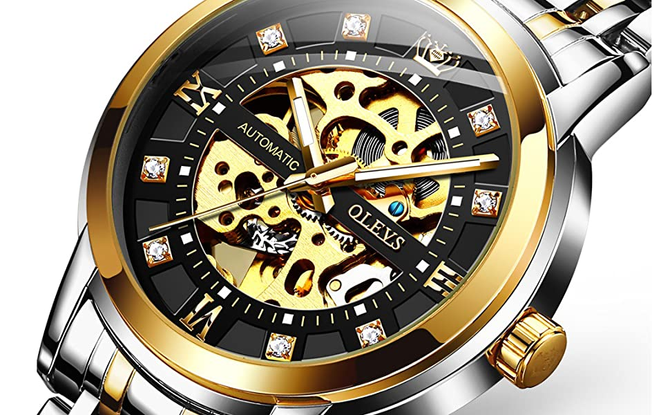 automatic mechanical open skeleton movement luxury watch