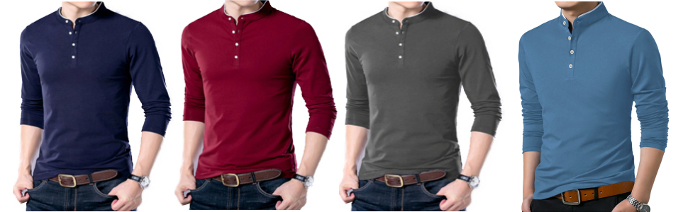 YTD Men's Casual Slim Fit Shirts Pure Color Long Sleeve Polo Fashion T-Shirts