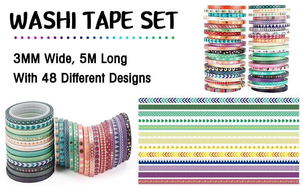 Cute 48 Rolls Washi Tape Set,Foil Gold Thin Decorative Masking Washi Tapes,3MM
