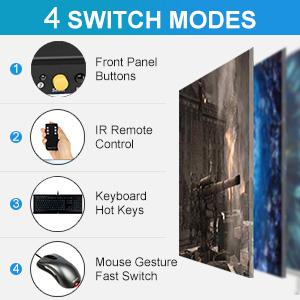 TESmart HDMI KVM Switch 2 Port 4K@60Hz Ultra HD 2x1 HDMI KVM Switcher with 2 Pcs 5ft KVM Cables