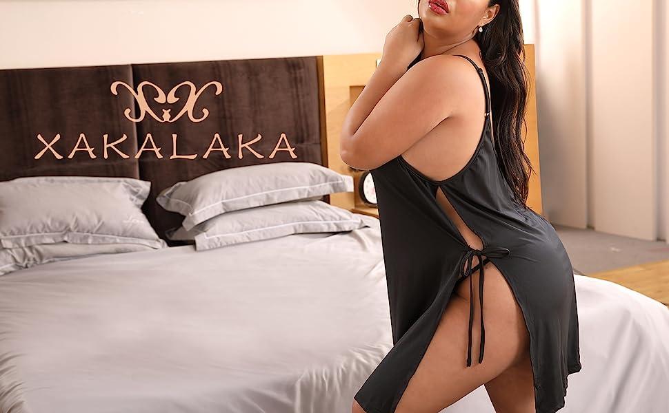 XAKALAKA Women Plus Size Lace Babydoll Lingerie Side Slit Strappy Chemise Full Slip