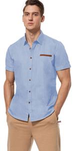 men's work shirt short sleeve(Clear Blue)