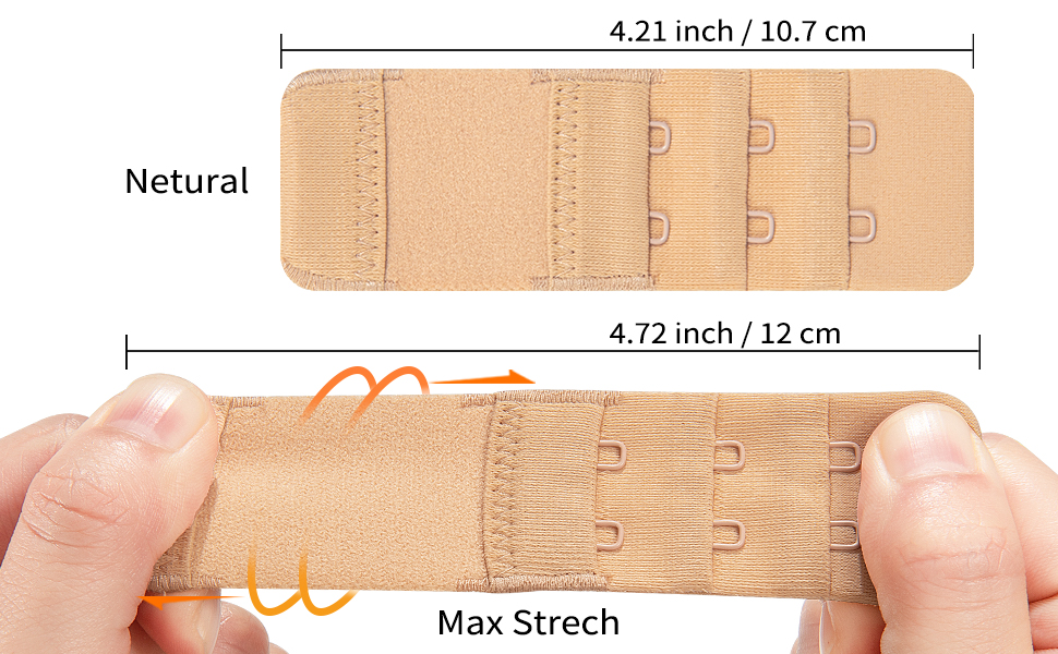 Womens 6pcs-Pack Elastic Bra Extender Accessories Stretchy Bra Band Breathing Room Multi-Size