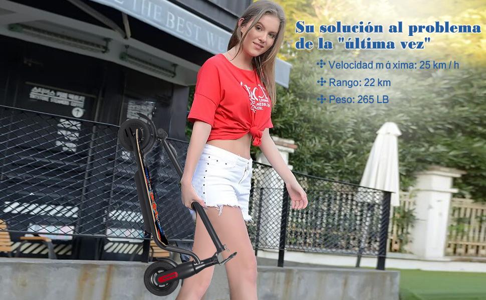 M MEGAWHEELS EléctricoScooter, Patinete Scooter Eléctrico Inteligente de Alta Potencia de 250 W, Batería de Largo Alcance de 12 Millas, Carga hasta ...