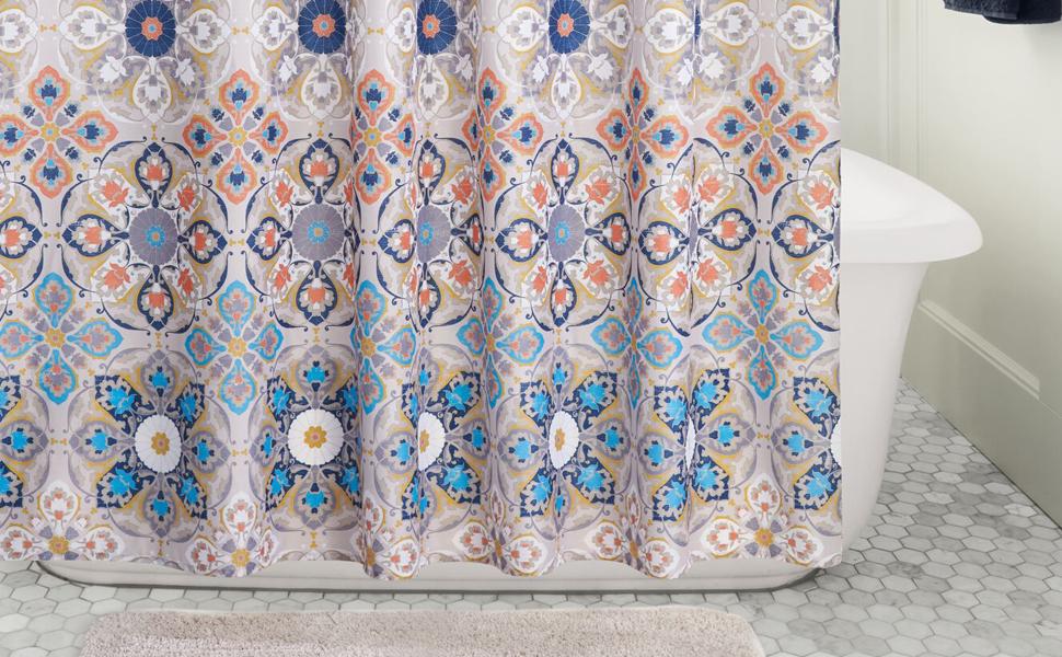 Mandala Grey Bathroom Accessories Decoration Country Club EVA Shower Curtain