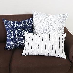 navy stripe decorative throw pillows