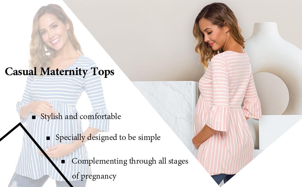 Ecavus Womens Casual Maternity Tops Striped Peplum 3//4 Ruffle Sleeve Shirt Ultra Soft Pregnancy Clothing