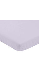 Lavender Purple Baby Girl Fitted Mini Portable Crib Sheet for Watercolor Floral Collection